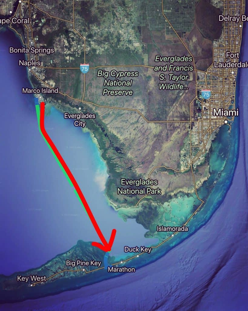Marco Island to Marathon Key map
