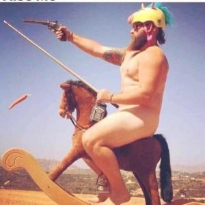 Naked sailor with bourbon and pistol astride a hobby horse.